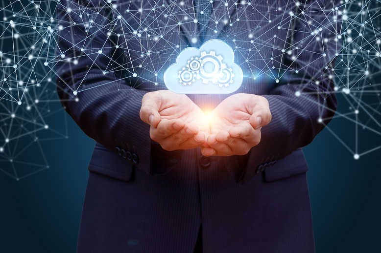 Data cloud in the hands of the businessman on the background network.